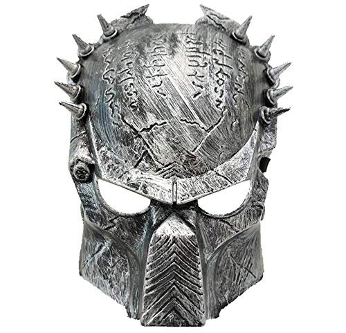 Junyulim Jagged Warrior Mask Halloween Mask Role Playing Makeup Party Suitable for Masquerade/Party/Bar Cosplay Halloween Mask Party Mask (Silver)