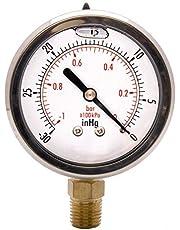 "HFS 2-1/2"" Oil Filled Vacuum Pressure Gauge - SS/Br 1/4"" NPT Lower Mount -30HG/0"
