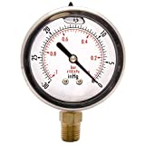 "HFS 2-1/2"" Oil Filled Vacuum Pressure Gauge - SS/Br 1/4"" NPT Lower Mount -30HG/0"