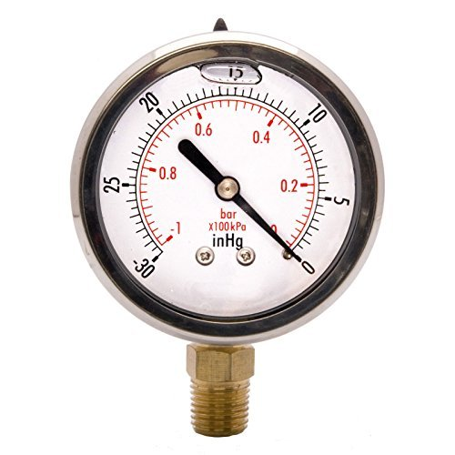"""HFS 2-1/2"""" Oil Filled Vacuum Pressure Gauge - SS/Br for sale  Delivered anywhere in USA"""