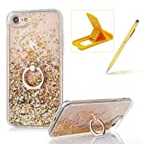 Hard Case for iPhone 7 Plus,Plastic Glitter Case for iPhone 8 Plus,Herzzer Luxury 3D Creative Design Gold Liquid Quicksand Sparkly Crystal Clear Protective Skin Back Case with 360 Degree Ring Holder for iPhone 7 Plus/iPhone 8 Plus 5.5 inch + 1 x Free Yellow Cellphone Kickstand + 1 x Free Yellow Stylus Pen