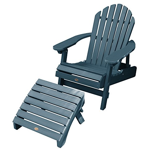 Highwood AD-KITCHL1-NBE Hamilton Folding & Reclining Folding, Nantucket Blue Adirondack Chair with Ottoman