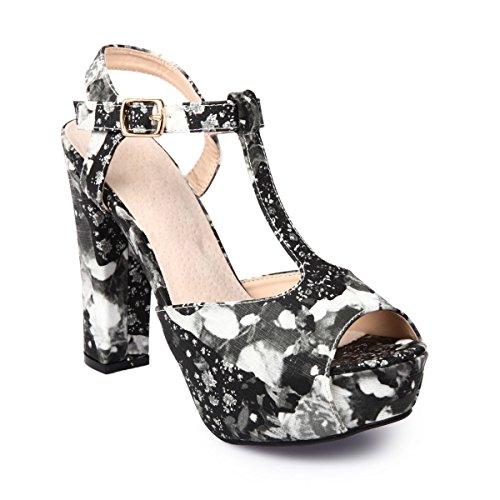 La Modeuse-Sandalias con tacón peep-toes con motivos de flores Negro - negro