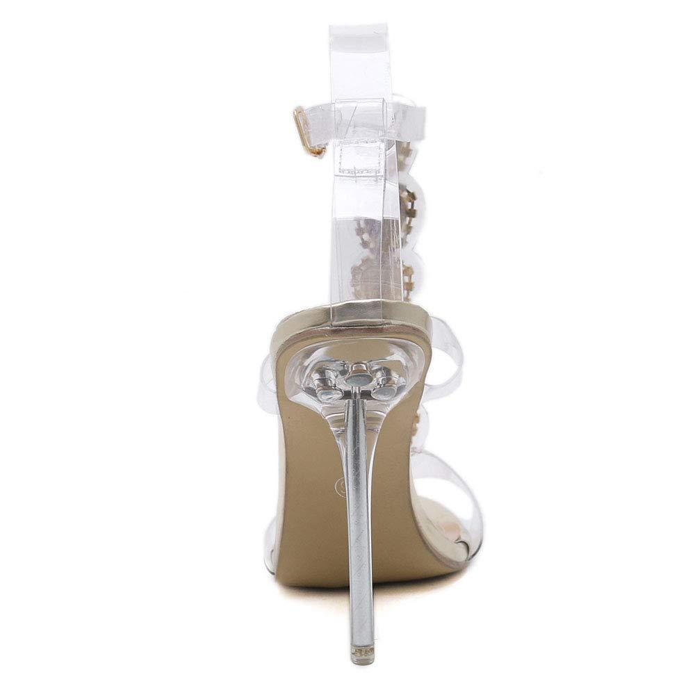 81f96dae526 Amazon.com  MKHDD Women Pumps Open Toe High Heels Shoes Buckle Strap  Diamonds Crystal PVC Clear Heels Thin Heels Stilettos  Sports   Outdoors