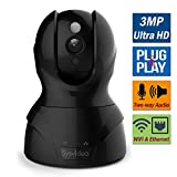 WiFi Wireless IP Security Camera for Home/Shop, 3MP 1080P HD Infrared Night Vision Pan Tilt, iPhone/iPad/Andriod APP & Browsers Monitor, SD Card Recording, Motion Alert, Microphone 2 Way Audio Review