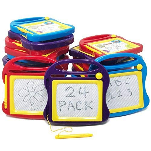 Boley 24 Piece Doodle Board Set - Magnetic Drawing Pad Set with Magnetic Drawing Pen - Educational Magic Doodle Erasable Writing Pad - Perfect for Classroom Supplies, Party Favors, or Party Supplies!]()
