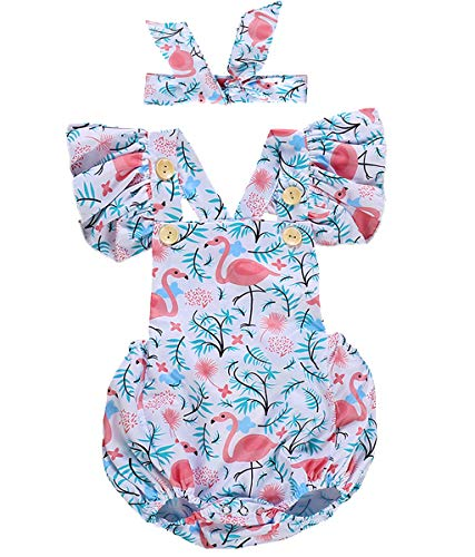 2Pcs Sleeveless Baby Girls Romper Bodysuit Flamingo Print Buttons Ruffles Jumpsuit Outfits with Headband (12-18 Months, -