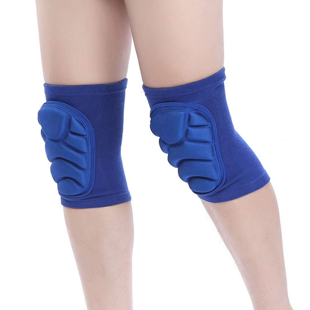 C.W.USJ Knee Brace Compression Sleeve with Strap for Best Support & Pain Relief Shock Absorption Adjustable Knee Belt (Color : E Blue, Size : L) by C.W.USJ