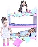 """PZAS Toys Doll Bed para American Girl- Bunk Bed Furniture para American Girl Doll o 18 """"Doll. ¡Conjunto completo con sábanas, pijamas, 3 osos de peluche y más!"""