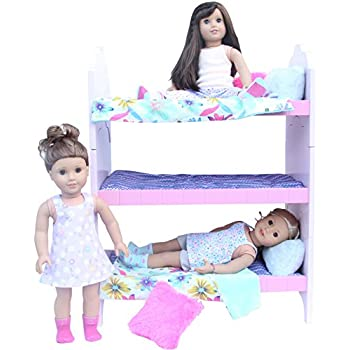Amazon Com Doll Triple Bunk Bed Set For American Girl