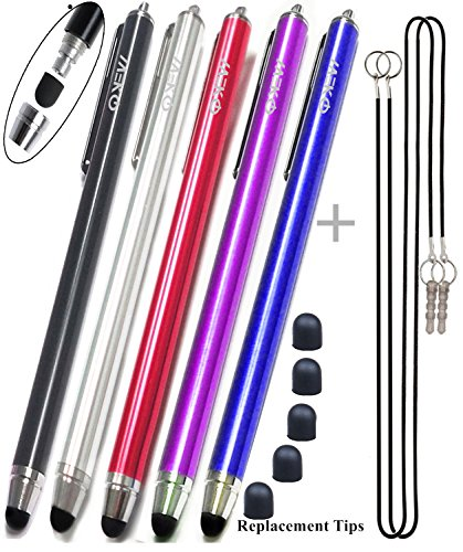 MEKO (5Packs)[0.22-inch Rubber Tip Series] Stylus / Styli 5.5L Replaceable Rubber Thin-Tip High Precision Universal Capacitive Touch Screen Stylus Pens -- (Black&Dark Blue&Purple&Red&Silver)
