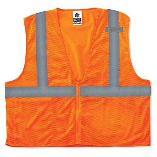 Orange Economy Vest - Ergodyne GloWear 8210Z ANSI Economy High Visibility Orange Reflective Safety Vest, Zipper Closure, 4XL/5XL