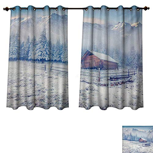 RuppertTextile Winter Blackout Thermal Curtain Panel Old Farmhouse in Snow Mountains and Frosted Forest Rustic Life Photography Patterned Drape for Glass Door Caramel White Blue W72 x L84 inch