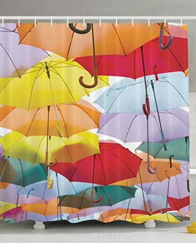 Ambesonne Umbrella Festival Colorful Umbrellas Flying Protection Symbol Street Decoration of Madrid Spain Colorful Traveler Decor Woman Bathroom Fun Shower Curtain Red Yellow Orange Green Light Blue by Ambesonne