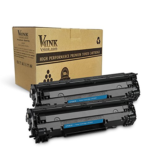 V4INK 2 Packs New Replacement for HP CF283X 83X Toner Cartridge for use with HP LaserJet pro M225dn M225dw M201n M201dw Series