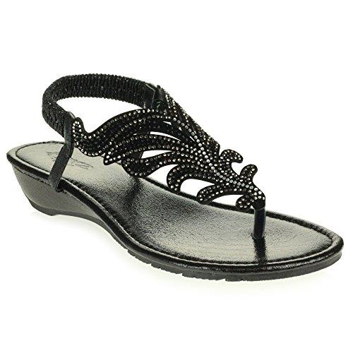 Diamante Slingback Décontractée Poids Confort Sandales Noir Bas Taille compensé Femmes Chaussures des Cristal Talon Dames léger SXwqf4tE