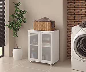 Ditalia Wooden Double Door Glass Front Storage Cabinet, White with Assembly