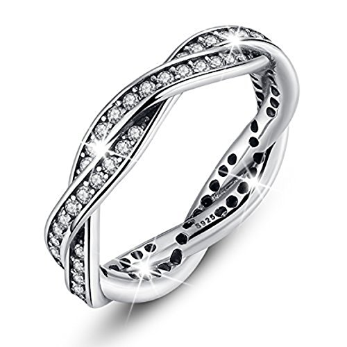 (BAMOER White Gold Plated Eternity CZ Promise Wedding Band Ring for Women,Size 7 )