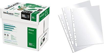 Navigator Universal Papel de impresión 2500 hojas (A4, 5 x 500 hojas, 80 g/m2) + Plus Office EH303A-8/FC Fundas multitaladro folio-cristal, 90 micras, 100 unidades, transparente: Amazon.es: Oficina y papelería