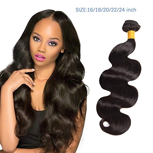 Body Wave Human Hair Bundles for Women, 16/18/20/22 Inch , Unprocessed Brazilian Hair Wave Bundles, Human Hair Bundles with Lace Closure, Natural Black Color Wavy Hair Extensions