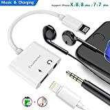 iphone jacks - Lightning to 3.5mm Headphone Jack Adapter, Excellenter Iphone Adapter Lightning Charge & Audio Splitter Dongle Earphone Aux Music Cable Charger Connector for Iphone 7/7 plus/8/8 plus/X