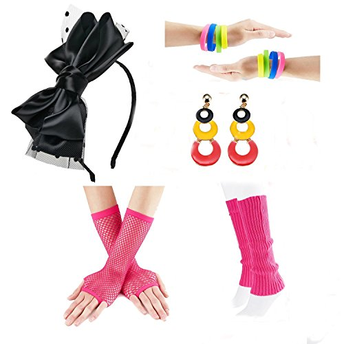 Neon Fancy Dress Outfits (80s Fancy Outfit Costume Accessories Set,Leg Warmers,Fishnet Gloves,Neon Earrings and bowknot headband (OneSize, With Bracelet))