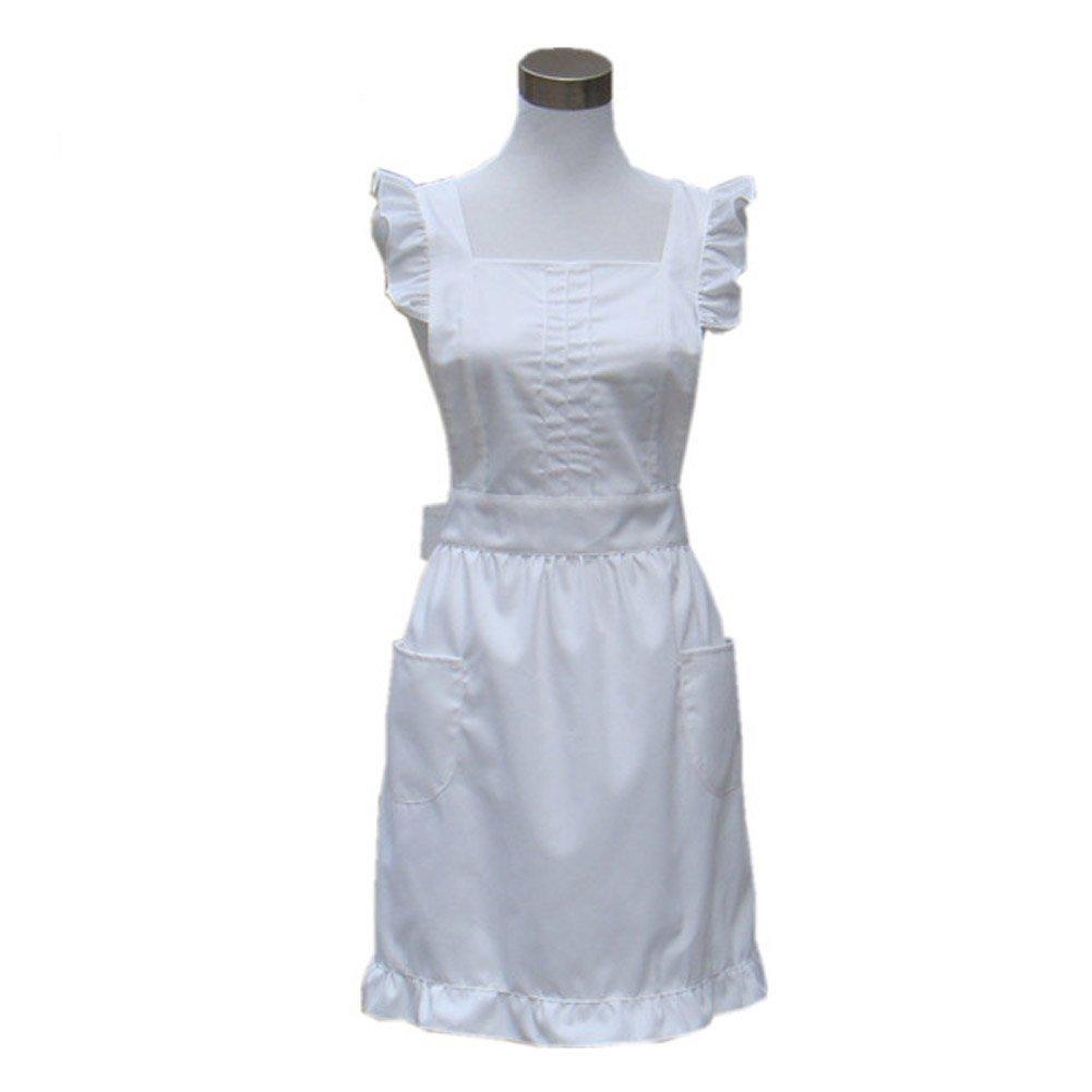 Musuntas Princess, realizzato a mano, colore: bianco Vintage-Grembiule da cucina, per ristoranti, per donna, con tasche a Flirty Aprons per regalo bianco Musuntas Princess