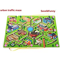 Shuban Wooden Magnetic Maze Puzzle Interactive Maze Magnet Beads Maze on Board Game Educational Handcraft Toys