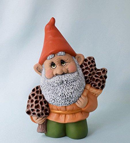 Woodland Gnome Carrying Morels Ceramic Decor by Teresa's Ceramics