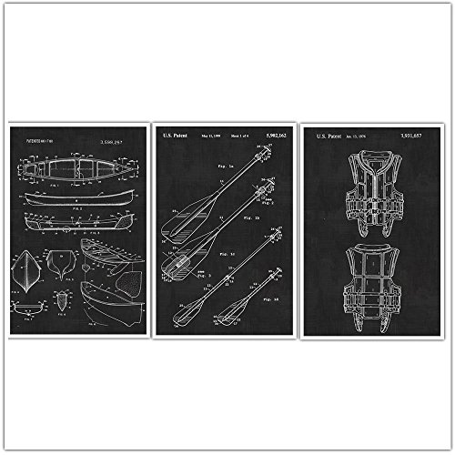 Canoeing, Sports Patent Wall Art Patent Poster Set of 3 - Sports Gift - Blueprints - Patent Prints - Poster Art - Canoe, Life Vest, Oar