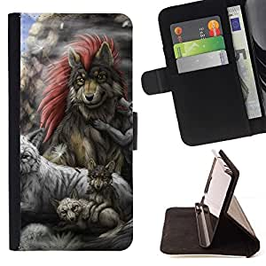 Momo Phone Case / Flip Funda de Cuero Case Cover - Gray Wolf Family - Samsung Galaxy S5 V SM-G900
