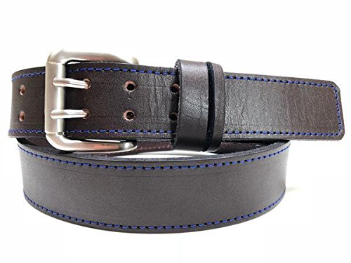 Mens dark brown leather belt with blue stitching