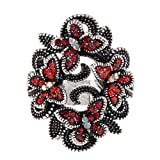 YACQ Jewelry Women's Crystal Butterfly Stretch Rings Scarf Ring Buckle Clip