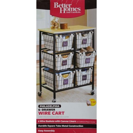 Better Homes and Gardens 6-Drawer Wire Cart, Black by Better Homes & Gardens (Image #4)