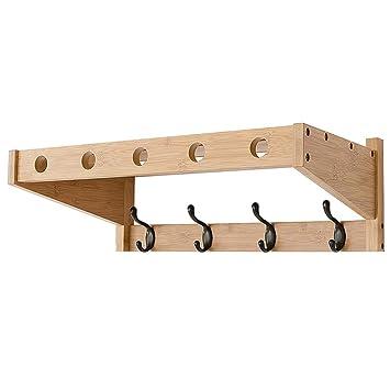 FFF-Coat rack Percheros de bambú para Colocar en la Pared ...