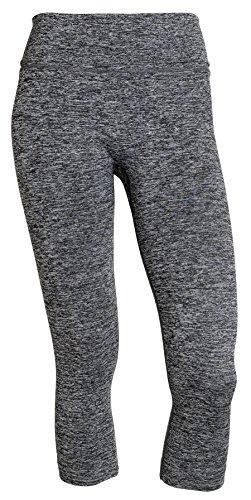 Sportoli Women Active Workout Compression Running Gym Yoga Capri Pants Leggings - Charcoal Heather Grey (X-Large)