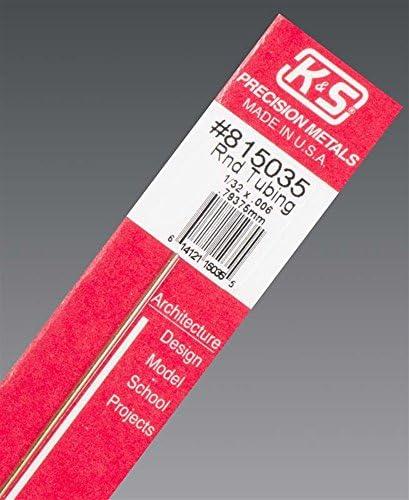 K&S 真鍮パイプ 外径1/32インチ(0.80mm) 内径0.48mmタイプ 長さ12インチ(300mm)(1本入り)