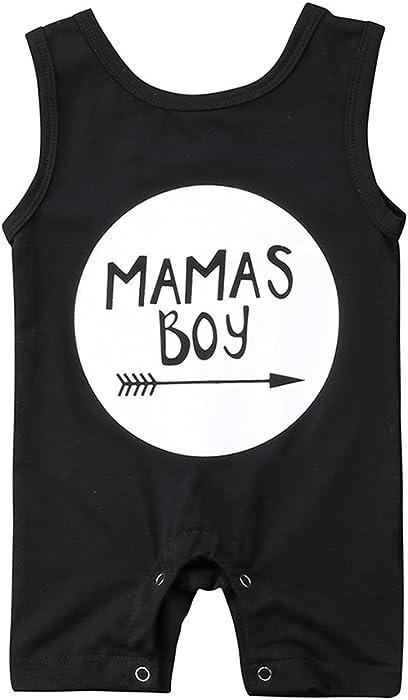 0dbeb126e80c Amazon.com  Newborn Baby Boys Sleeveless Mama s Boy Print Romper ...