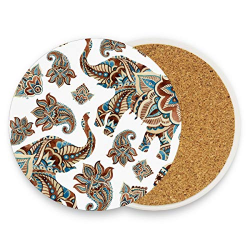 Elephant Paisley Boho Tribal Coasters, Protection for Granite, Glass, Soapstone, Sandstone, Marble, Stone Table - Perfect Cork Coasters,Round Cup Mat Pad for Home, Kitchen or Bar 1 piece