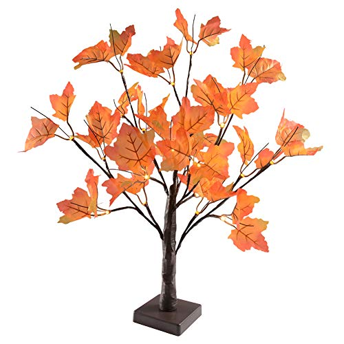 (Thanksgiving Decorations Tabletop Lights,Battery Powered,24 LED Thanksgiving Maple Leaves Autumn Tree Lights Decoration,Perfect Fall Thanksgiving)