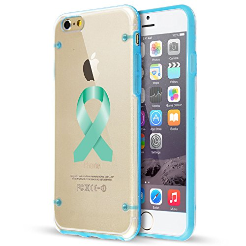 For Apple iPhone Ultra Thin Transparent Clear Hard TPU Case Cover Ovarian Cancer Color Awareness Ribbon (Light Blue For iPhone 8)