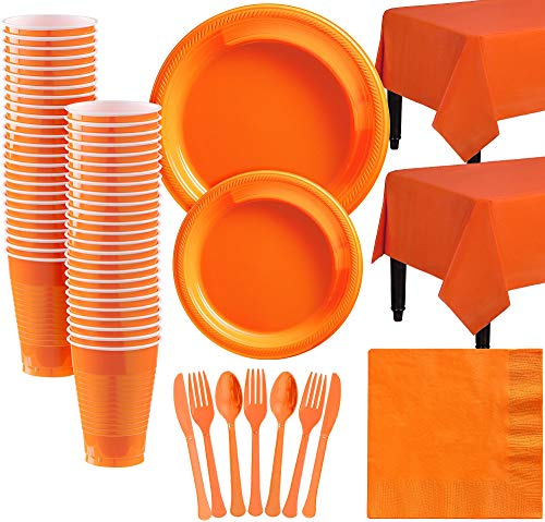 Amscan Orange Plastic Tableware Kit for 50 Guests, Party Supplies, Includes Table Covers, Plates, Cups and More -