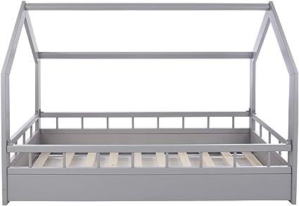 Solenzo – Cama para niños con somier y barrera (Gris, 80 x 160 cm)