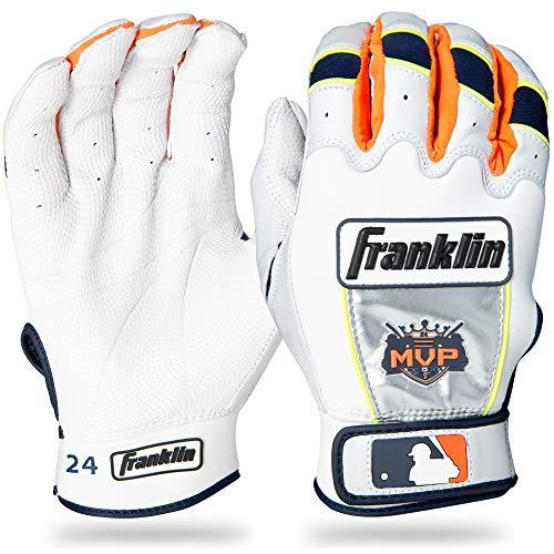 Franklin Sports MLB Youth Miguel Cabrera CFX Pro Signature Series Batting Glove, Pair, Large, White/Navy/Orange