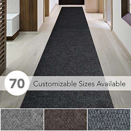 6' X 9' Runner - iCustomRug Spartan Weather Warrior Duty Indoor/Outdoor Utility Berber Loop Carpet Runner, Area Rugs, 3ft,4ft,6ft Widths 70 Custom Sizes with Natural Non-Slip Rubber Backing 3' X 9' in Black