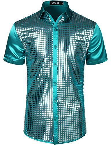 JOGAL Mens Dress Shirt Silver Sequins Short Sleeve Button Down 70s Disco Shirt Party Costume (Turquoise Silver, Large) -