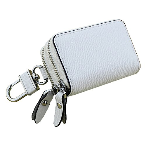 - PEOTOUVY Multifunction Car Key Case Leather Double Zipper Car Key Chain Holder Wallet for Key FOB - White