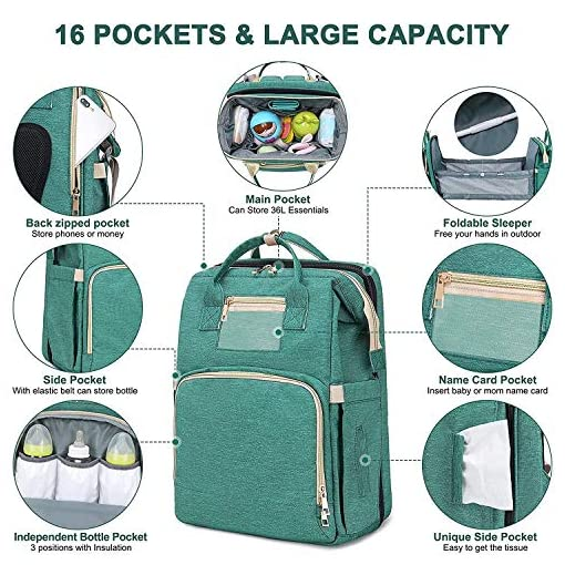 3-in-1-Diapper-Bag-Foldable-Bay-Backpack-Baby-Bed-Convertible-Waterproof-Bags-Maternity-Baby-Green