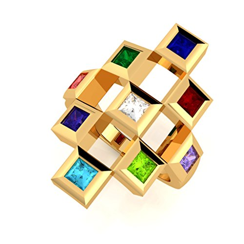 NANA Sterling Silver Tic-Tac-Toe Mother's Ring - 1 to 9 Stones - Yellow Gold Plated - Size 5