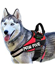 """Paw Five CORE-1 Reflective Dog Harness with Built-in Waste Bag Dispenser Adjustable Padded No-Pull Control for Medium and Large Dogs, Check Sizing Chart Before Ordering (Medium (Girth: 27"""" - 32""""), Lava Red)"""